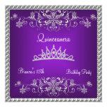 Quinceanera 15th Purple Black Diamond Tiara Personalized Invite