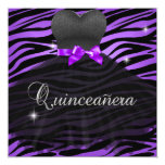 Quinceanera 15th Purple Black Zebra Dress Custom Invitation