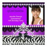 Quinceanera 15th Purple Black Zebra Pearl Tiara Custom Invitations