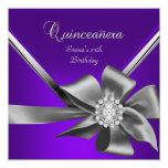 Quinceanera 15th Purple Blue Silver Grey Bow Personalized Invite