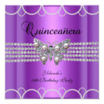 Quinceanera 15th Purple Butterfly Pearl Lace