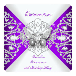 Quinceanera 15th Purple Butterfly Tiara Party 13 Cm X 13 Cm Square Invitation Card