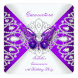 Quinceanera 15th Purple Butterfly Tiara Party 2 Custom Invites