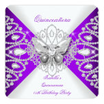 Quinceanera 15th Purple Butterfly Tiara Party Personalized Announcements