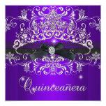 Quinceanera 15th Purple Glitter Tiara Black Bow Invite