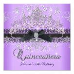 Quinceanera 15th Purple Glitter Tiara Black Bow Personalised Invite