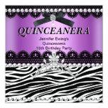 Quinceanera 15th Purple Pink Black Zebra Tiara Invitations