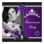 Quinceanera 15th Purple Rose Black Pearl Announcements