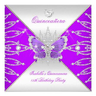 Quinceanera 15th Purple Silver Butterfly Tiara 13 Cm X 13 Cm Square Invitation Card