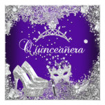 Quinceanera 15th Purple Silver Mask Tiara Personalised Announcements