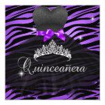 Quinceanera 15th Purple Tiara Zebra Dress Personalised Invite