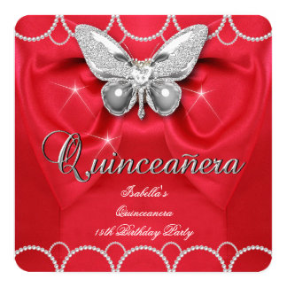 Quinceanera 15th Red Butterfly Pearl Party 13 Cm X 13 Cm Square Invitation Card