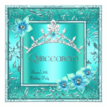 Quinceanera 15th Teal Blue Flower Silver Tiara 13 Cm X 13 Cm Square Invitation Card
