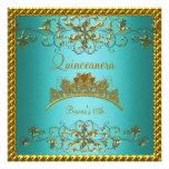 Quinceanera 15th Teal Blue Gold Tiara 2 Custom Announcements