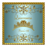 "Quinceanera 15th Teal Blue Gold Tiara 5.25"" Square Invitation Card"