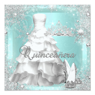 Quinceanera 15th Teal Silver Birthday Party 2 13 Cm X 13 Cm Square Invitation Card