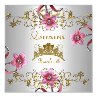 Quinceanera 15th White Pink Flowers Gold Tiara 13 Cm X 13 Cm Square Invitation Card