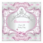 "Quinceanera 15th White Pink Swans Tiara 5.25"" Square Invitation Card"