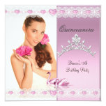 Quinceanera 15th White Pink Swans Tiara Photo 13 Cm X 13 Cm Square Invitation Card