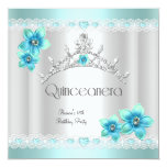 "Quinceanera 15th White Teal Blue Silver Tiara 5.25"" Square Invitation Card"