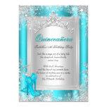 Quinceanera 15th Winter Wonderland Teal Aqua 13 Cm X 18 Cm Invitation Card