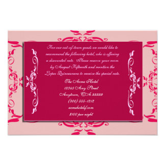 Quinceanera Accommodations Cards
