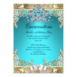 Quinceanera Aqua Teal Gold 15th Birthday Party 13 Cm X 18 Cm Invitation Card