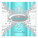 Quinceanera Birthday Glitter Teal White Tiara Personalized Invitation