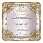 Quinceanera Birthday Gold Pearl Pink Damask 13 Cm X 13 Cm Square Invitation Card