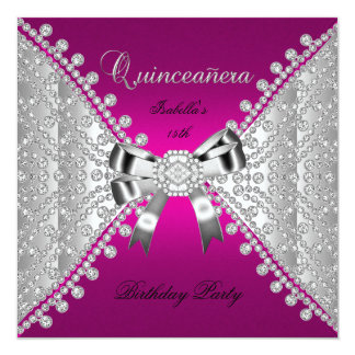 Quinceanera Birthday Party Pink Diamonds Card