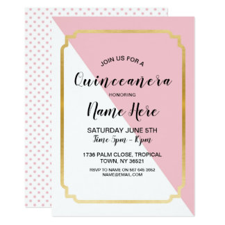 Quinceanera Birthday Party Pink Gold Pretty Invite