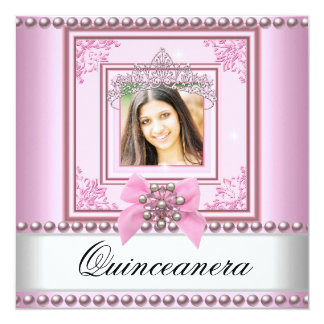Quinceanera Birthday Party Pink White Pearl Photo 13 Cm X 13 Cm Square Invitation Card