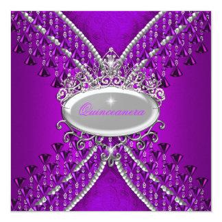 Quinceanera Birthday Party Purple Magenta Beads 13 Cm X 13 Cm Square Invitation Card