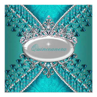 Quinceanera Birthday Party Teal Blue Beads 13 Cm X 13 Cm Square Invitation Card