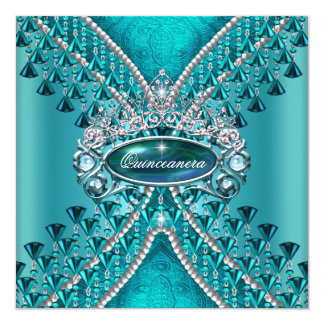 Quinceanera Birthday Party Teal Blue Card