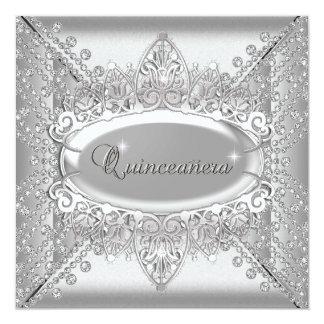 Quinceanera Birthday Party White Diamonds Silver 13 Cm X 13 Cm Square Invitation Card