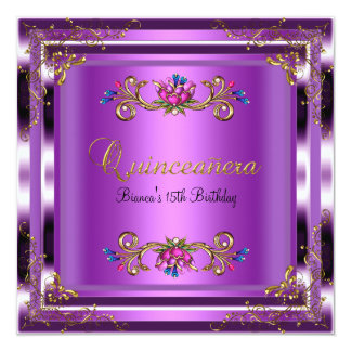 Quinceanera Birthday Purple Lilac Gold Floral Card