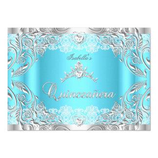 Quinceanera Blue Silver Diamond Tiara 15th Party 2 4.5x6.25 Paper Invitation Card