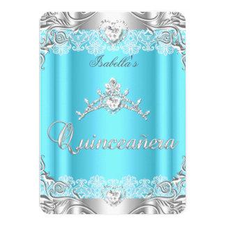 Quinceanera Blue Silver Diamond Tiara 15th Party 11 Cm X 16 Cm Invitation Card