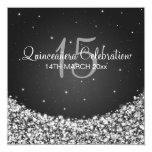 Quinceañera Celebration Party Star Sparkle Black 13 Cm X 13 Cm Square Invitation Card