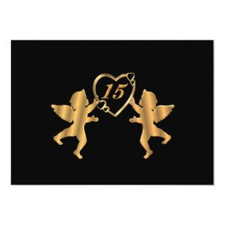 Quinceanera cupids for 15th Birthday on black 13 Cm X 18 Cm Invitation Card