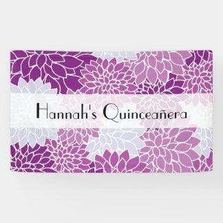 Quinceanera - Dahlia Flowers, Blossoms - Purple Banner
