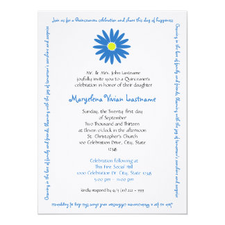 Quinceanera Delightful Daisy Message Text Blue 14 Cm X 19 Cm Invitation Card