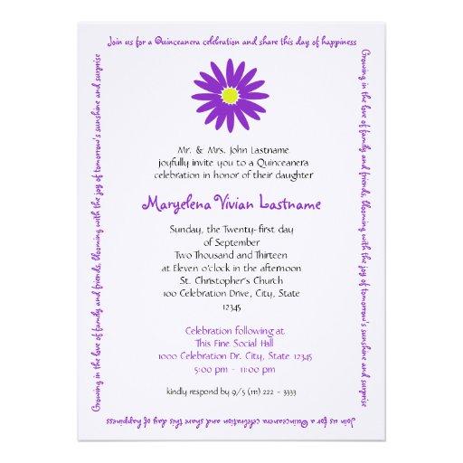 Quinceanera Delightful Daisy Message Text Purple Custom Invitations