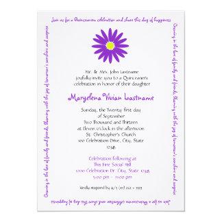 """Quinceanera Delightful Daisy Message Text Purple 5.5"""" X 7.5"""" Invitation Card"""
