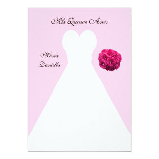 Quinceanera Dress on Pink Quince Anos 13 Cm X 18 Cm Invitation Card