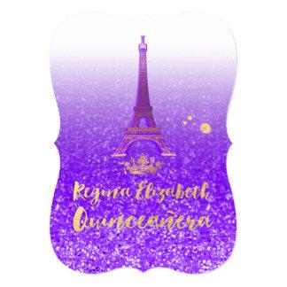 Quinceanera/Eiffel/Neon Purple/Princess/Crown 13 Cm X 18 Cm Invitation Card