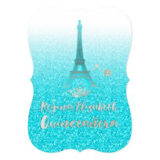 Quinceanera/Eiffel/Tiffany Blue/Princess/Crown 13 Cm X 18 Cm Invitation Card
