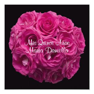 Quinceanera Elegant Pink Rose Bouquet on Black 13 Cm X 13 Cm Square Invitation Card
