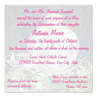Quinceanera Fairy Tale Princess Carriage pink 13 Cm X 13 Cm Square Invitation Card